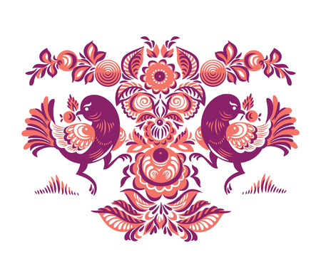 Folk Gorodets print in Russian Style. A floral pattern with two birds. Traditional vector art in red colors Illustration