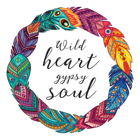 Hand drawn boho style frames with feathers and quote text. Wild heart gypsy soul. Vector illustration