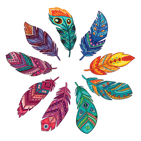 Beautiful feathers set. Nice collection for prints and decoration. Illustration
