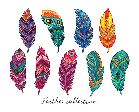 Native american indian feathers. Set of hand drawn rustic decorative feathers. Vector illustration