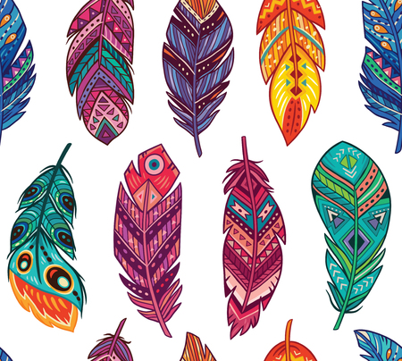Ethnic feathers seamless background. Bohemian style. Vector ethnic tribal feathers seamless background