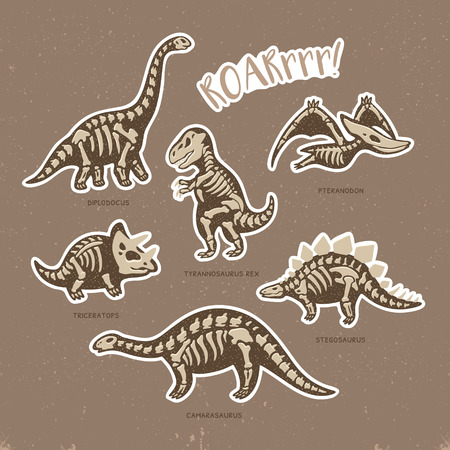 Collection of stickers with fossil dinosaurs in cartoon style. Cartoon fossil dinosaurs set sticker. Vector illustration Stok Fotoğraf - 60336919