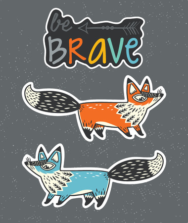 western wall: Collection of stickers with red and blue foxes, and text be brave in cartoon style. Cartoon foxes set sticker. Vector illustration