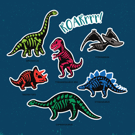 Collection of stickers with fossil dinosaurs in cartoon style. Cartoon fossil dinosaurs set sticker. Vector illustration