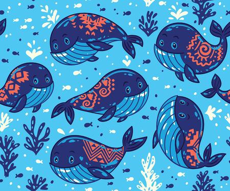 만화 고래와 귀여운 배경입니다. 고래와 작은 물고기 바다 생활 벡터 배경. 직물 마린 스타일 장식 일러스트