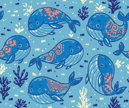 fond mignon avec les baleines bleues de bande dessinée. la vie de la mer vecteur de fond avec les baleines et les petits poissons. Ornement pour le style marin de tissu