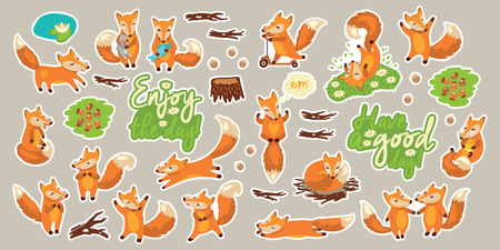 Set of stickers with cute little foxes, flowers, berries and herbs and hand drawn lettering Vettoriali