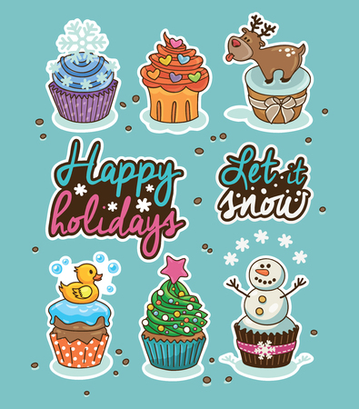 toppings: Set of stickers with winter cupcakes with different toppings. Vector reindeer, snowflakes, snowman and Christmas tree. Set of label design elements. Happy holidays. Let it snow Illustration