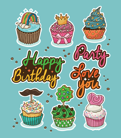 toppings: Set of stickers with party cupcakes with different toppings. Vector rainbow, crown, heart, mustache. Set of label design elements. Happy Birthday. Party. Love you