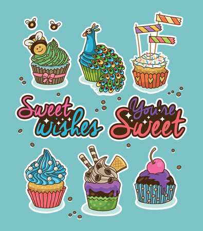 bee party: Set of stickers with party cupcakes with different toppings. Vector bee, peacock, cherry, flags. Set of label design elements. Sweet wishes. You are sweet Illustration
