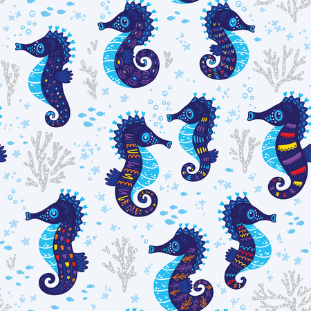 live coral: Seamless background with seahorses. Vector illustration. Bright seamless pattern with underwater live - sea horses, coral and fish Illustration