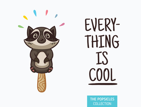 Everything is cool. Raccoon ice cream yummy fresh summer desert in cartoon style.