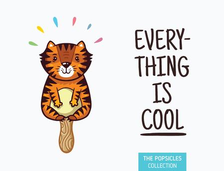 yummy: Everything is cool. Tiger ice cream yummy fresh summer desert in cartoon style. Illustration