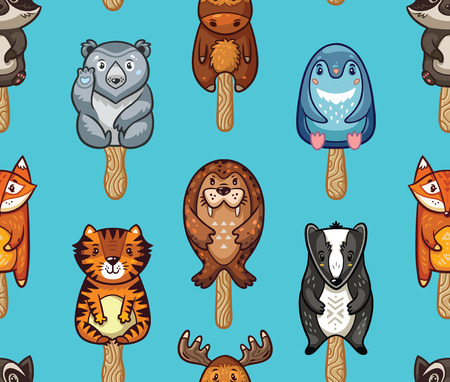 lolly: Ice Lolly pattern with cartoon animals on blue background