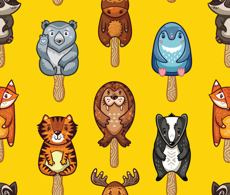 lolly: Ice Lolly pattern with cartoon animals on yellow background