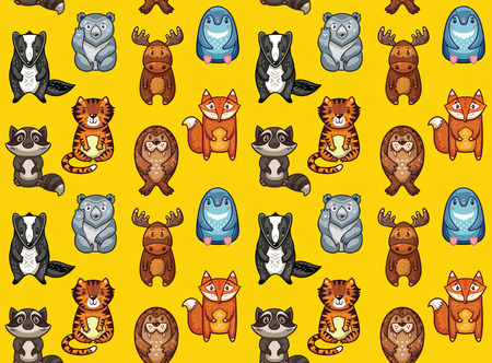 polar fox: Seamless pattern with colorful cartoon animals. The raccoon, polar bear, moose, penguin, fox, tiger, walrus and badger. Ideal for cards, wallpapers and children room decoration