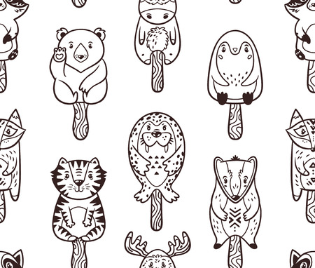 lolly: Ice Lolly pattern with cartoon animals. Black and white background. Coloring book.