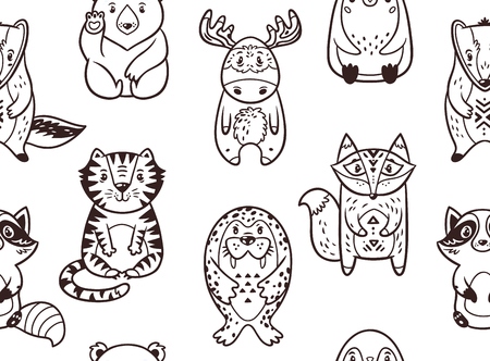 badger: Seamless pattern with cartoon animals. The raccoon, polar bear, moose, penguin, fox, tiger, walrus and badger. Black and white background. Coloring book.