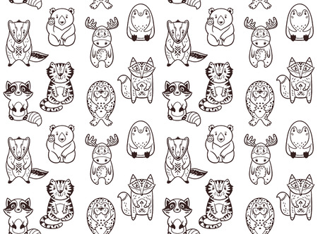 polar fox: Seamless pattern with cartoon animals. The raccoon, polar bear, moose, penguin, fox, tiger, walrus and badger. Black and white background. Coloring book.