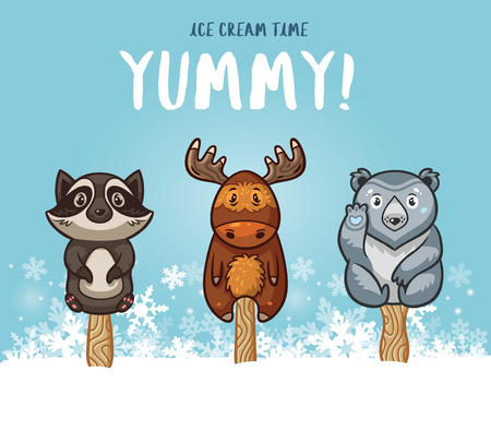 yummy: Set of ice cream on a stick with cartoon animals on blue background. Cute animal  collection with racoon, moose, polar bear in the snow. Yummy