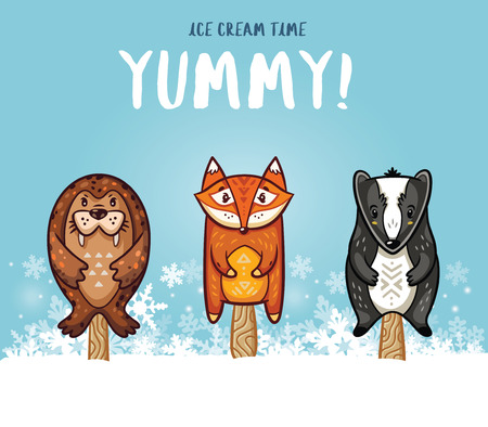 yummy: Set of ice cream on a stick with cartoon animals on blue background. Cute animal   collection with seal, fox and badger in the snow. Yummy