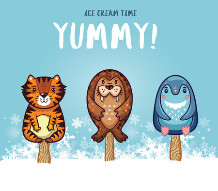 yummy: Set of ice cream on a stick with cartoon animals on blue background. Cute animal  collection with tiger, seal and penguin in the snow. Yummy