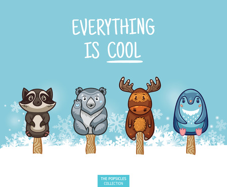 Set of ice cream on a stick with cartoon animals on blue background. Cute animal collection with raccon, polar bear, moose and penguin in the snow. Everything is cool