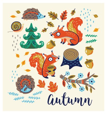 yelllow: Autumn card. Fall. Vector set. Set of cartoon characters and autumn elements - squirrels, leaves, hedgehogs, snail, tree stump, nuts and fir