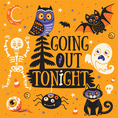 going out: Halloween Poster or Greeting card with cartoon skeleton, owl, bat, ghost, cat, spider and eyes. Going out tonight. Orange background.
