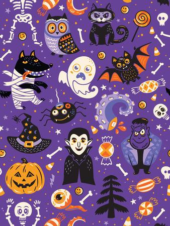 かわいい漫画ハロウィーン シームレスなパターンは、紫色の背景に。カボチャ、ゴースト、バット、キャンディー、フクロウ、猫、狼、クモ、スケルトン。包装紙、繊維、グリーティング カード ・ パーティの招待状パターンのような使用することができます。 写真素材 - 62911236