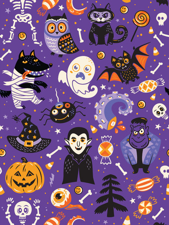 Cute cartoon Halloween seamless pattern with violet background. Pumpkin, ghost, bat, candy and owl, cat, wolf, spider, skeleton. Can be used like pattern for wrapping paper, textile, greeting cards and party invitations
