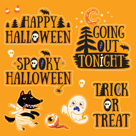 going out: Happy Halloween. Going out tonight. Spooky Halloween. Trick or reat. Stickers collection of characters and text for Halloween in cartoon style. Ghost, wolf, mummy and eyes.
