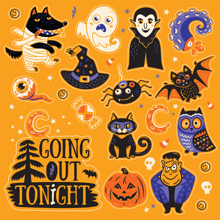 going out: Going out tonight. Stickers collection of characters and icons for Halloween in cartoon style. Pumpkin, ghost, bat, candy and owl, cat, wolf, spider, skeleton. Illustration on yellow background Illustration