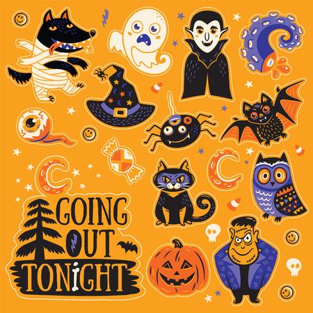 Uitgaan vannacht. Stickers verzameling tekens en pictogrammen voor Halloween in cartoon-stijl. Pompoen, spook, vleermuis, snoep en uil, kat, wolf, spin, skelet. Illustratie op een gele achtergrond Stock Illustratie