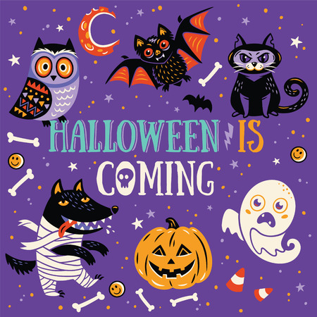 Fun Halloween Poster or Greeting card with cartoon wolf, owl, mummy, ghost, bat and cat. Purple background. Illustration