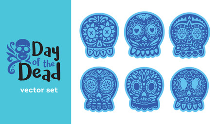 Sugar skull from Day of the Death. Vector set. Ornate one color. Dia de los Muertos icons Illustration