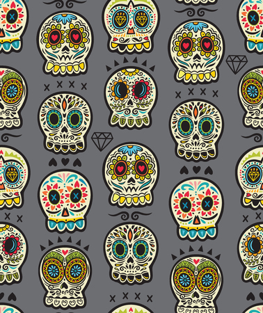 Seamless pattern - Day of The Dead cartoon calaveras sugar skull