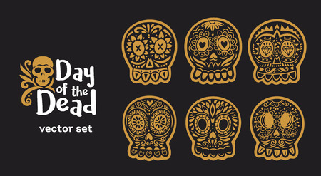 Day Of The Dead logo. Skull vector set. Ornate one color. Dia de los Muertos icons