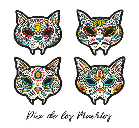 Set of sugar skull cats in mexican style for holiday the Day of the Dead, Dia de Muertos. Vector illustration