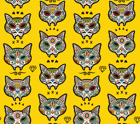 Seamless pattern - Day of The Dead cartoon calaveras sugar cat skulls. Mexican vector background for holiday Dia de Muertos