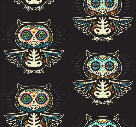 Seamless pattern - Day of The Dead cartoon calaveras sugar owl skulls. Mexican vector black background for holiday Dia de Muertos Illustration