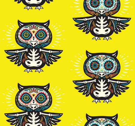 Seamless pattern - Day of The Dead cartoon calaveras sugar owl skulls. Mexican vector yellow background for holiday Dia de Muertos
