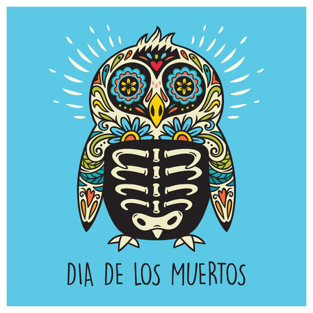 Greeting card with sugar skull penguin in mexican style for holiday the Day of the Dead, Dia de Muertos. Vector illustration