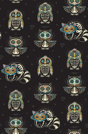Seamless pattern - Day of The Dead cartoon calaveras sugar penguin, owl and raccoon skulls. Mexican vector black background for holiday Dia de Muertos