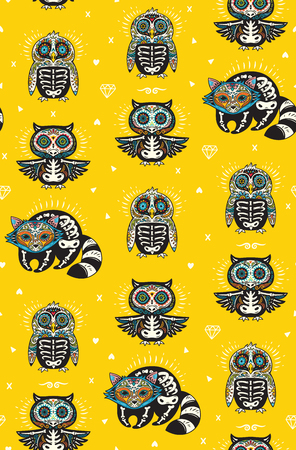 Seamless pattern - Day of The Dead cartoon calaveras sugar penguin, owl and raccoon skulls. Mexican vector yellow background for holiday Dia de Muertos Illustration