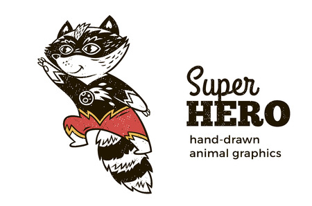 スーパー ヒーロー動物子供。漫画のベクトル図です。スーパー ヒーローの衣装で小さなタヌキ。手には、動物のグラフィックが描画されます。スーパー ヒーローのアイコン 写真素材 - 67482687