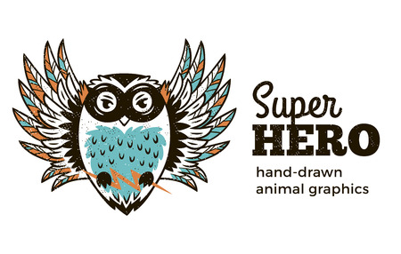 Superhero animal kids. Cartoon vector illustration. Little owl in superheroes costume. Hand drawn animal graphics. Super Hero icon