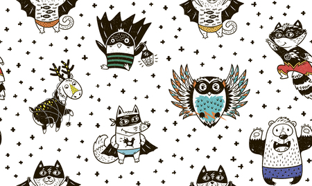 Superhero animal seamless pattern. Owl, deer, fox, cat, penguin, raccoon and bear in superheroes costume. Awesome childish background in cartoon style. Cute Superhero vector illustration.