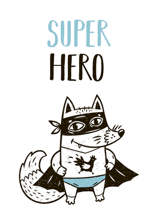 Super Hero. Little fox in superheroes costume. Hand drawn animal print. Super Hero greeting card