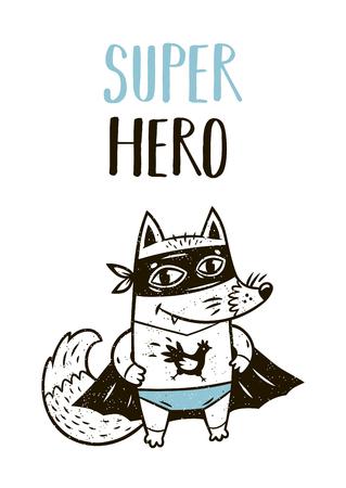 Super Hero. Kleine vos in superhelden kostuum. Hand getrokken dierlijke druk. Super Hero wenskaart